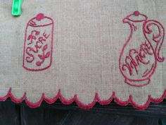 Victorian Café Curtain Linen French Country Kitchen Valance Shelf Edging Red Embroidered Coffee Grinder Sugar Canister #sophieladydeparis