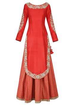 Krishna red embroidered kurta with printed lehenga and embellished dupatta available only at Pernia's Pop Up Shop.