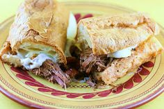 This was a HUGE hit at a party we had! So easy too! Italian Beef Sandwhiches in the crockpot!