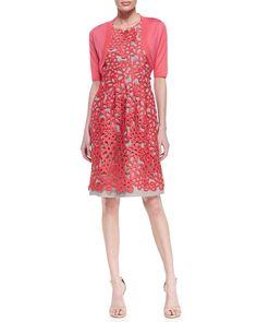 Lela Rose Half-Sleeve Shrug & Floral Guipure Lace Dress