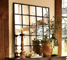 Decoration Ideas, : Captivating Image Of Home Interior Decoration Using Large Clear Glass Green Flower Vase Including Tall Curved Wooden Candle Holder And Multipanel Large Wall Mirror