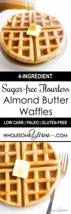Flourless Almond Butter Waffles (Paleo, Low Carb) - These delicious, nutty waffles are naturally paleo, low carb, and gluten-free. Made with just four simple ingredients, and no flour of any kind!   Wholesome Yum - Natural, gluten-free, low carb recipes. 10 ingredients or less.
