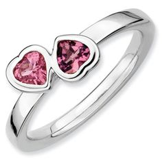 Stackable Expressions Sterling Silver Pink Tourmaline Double Heart Ring. #QSK407.  Sale Price $95.