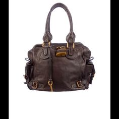 05b13dc788 Chloe Paddington Tall Satchel Dark brown satchel with gold-tone padlock at  front