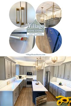 Check out this stylish gray and dark blue cabinet kitchen in Davenport Iowa. Kitchen desgn and complete remodel by Village Home Stores. | villagehomestores.com Tv Hutch, Davenport Iowa, Blue Kitchen Cabinets, At Home Store, Bathroom Inspiration, Color Inspiration, Countertops, Kitchen Remodel, Dark Blue