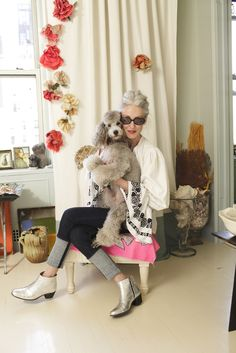 """Silver-Foxy Linda Rodin's NYC Apartment #refinery29  http://www.refinery29.com/linda-rodin-my-style#slide1  White vintage Czech blouse and jeans and silver boots from Merci. Rag & Bone jeans.  Tell us where you're from: """"Originally, Rosyln, Long Island. Now I live in New York City."""""""