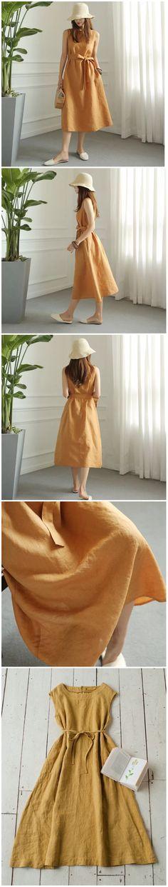 Yellow linen dresses women's fashion clothes summer clothes for Fantasylinen