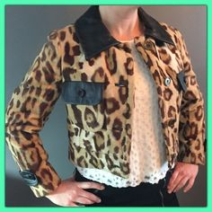 """🦋 Amazing Cheetah Jacket by Billy Lewis 🦋 🌾 Cheetah Print Cropped Jacket Vegan Black Leather, with fur like print in great condition, SUPER CUTE 🌟 Love the fit looks great with black slacks and jeans. The perfect way to get an outfit together on the fly worn a few times! ♥️ONE DAY🌹🌹Fits size 6-8 🦋🦋Measurements shoulder to hem 18"""", bust armpit to armpit 16"""", sleeve 21"""", back span pit to pit 17.5"""".🌺📦 Ship same or next day🛍 One day sale lowest price❤️❤️ Billy Lewis Jackets & Coats"""
