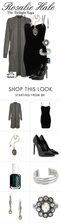 """""""Rosalie Hale"""" by jess-nichole ❤ liked on Polyvore featuring Andrea Marques, Pilot, Cullen, Yves Saint Laurent, Essie, David Yurman, 1928 and Cathy Waterman"""