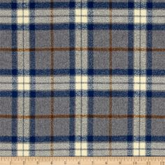 Kaufman Mammoth Flannel Large Plaid Steel from @fabricdotcom  Designed for Robert Kaufman Fabrics, this ultra soft double napped (brushed on both sides) lightweight (6 oz per square yard) flannel is perfect for shirts, loungewear and more! Features a yarn dyed plaid of grey, blue, brown and cream. Remember to allow extra yardage for pattern matching.