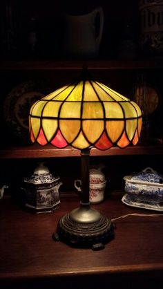 Edward Miller Slag Glass Lamp 1930's.  Available @ Valley Vintage & Antique Finds in North Conway, NH