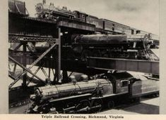 Triple Railway Crossing Through Time: 1900s The Triple Railroad Crossing, near the banks of the James River in Richmond, Virginia. The Southern was at ground level, the Seaboard Airline crossed on one bridge, and the C&O, on its James River Viaduct, was on top.