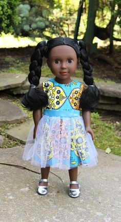 Dark Brown Skin Tone Doll with Braided Pigtails Braided Pigtails, Pigtail Braids, Brown Skin, Dark Brown, Doll With Hair, African American Dolls, Mermaid Dolls, Doll Outfits, Brown Girl