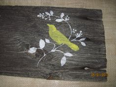 Rustic Bird Wall Decor Sign Picture Yellow Reclaimed Simple Wood Black on Old Barn Wood