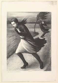 """Harold Anchel. """"Wind."""" litho ca. 1935-43  """"New York City W.P.A. Art Project"""""""