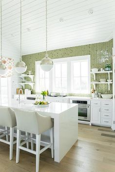 White Kitchen Herringbone Backsplash coastal living showhouse - white and green kitchen features white