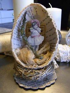 vintage inspired--make an Easter vignette in a large paper mache egg/mettre plutôt 1 image pieuse ou 1 lapin/DB Easter Art, Hoppy Easter, Easter Eggs, Egg Crafts, Easter Crafts, Spring Crafts, Holiday Crafts, Diy Ostern, Easter Projects