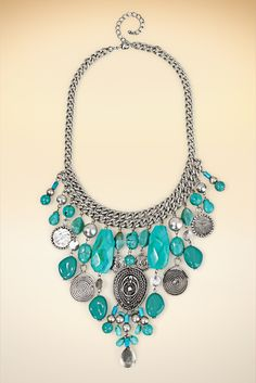 Faux Turquoise Charm Necklace #BostonProper #Jewelry #Accessories