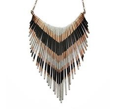 Copper Necklace - Fringe Metal Necklace - Multi V silver and black lacquer stripes - Copper Jewelry.