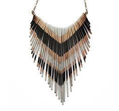 Copper Necklace - Fringe Metal Necklace - Multi V silver and black lacquer stripes - Copper Jewelry.