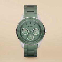 Fossil Stella Aluminium & Stainless Steel Watch in Green