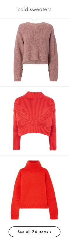 """""""cold sweaters"""" by julianaunicors on Polyvore featuring tops, sweaters, pull, pink, metallic sweater, red sweater, rag bone sweater, crop tops, pink top e jumper"""