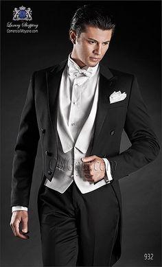 dde92914511 Traje de novio Frac negro 932 ONGala Wedding suit Esmoquin Blanco, Negro,  Lazos Blancos