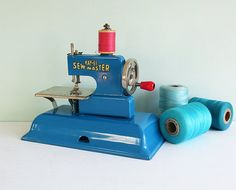 1940s KAYanEE Sew Master Toy Sewing Machine in Blue by Tparty, $79.90