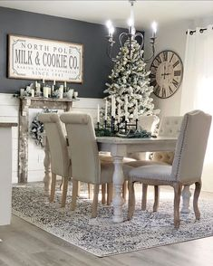 Are you ready for the jolliest guy around time visit your home? 🎅🏻 Grab the 🍪 and 🥛! has transformed her room into a winter wonderland! Featuring our Bosphorus Area Rug, we're ready for the most wonderful time of the year! Farmhouse Dining Room Table, Farmhouse Decor, Dining Chairs, Modern Farmhouse, Dining Table, Decoration Design, Halls, Decorating Your Home, Home Decor