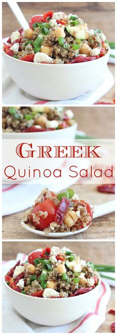 This Greek Quinoa Salad recipe is filled with healthy ingredients and tons of protein without any meat, it's gluten free, vegetarian and easily made vegan or paleo!