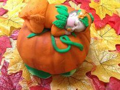 FONDANT LARGE PUMPKIN Baby. Edible pumpkin baby. by anafeke2