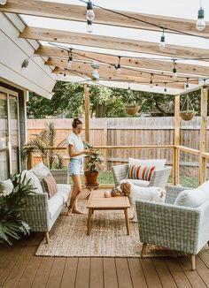 Backyard Patio Designs, Cozy Backyard, Cozy Patio, Backyard Pergola, Backyard Pools, Pergola Patio, Deck With Pergola, Pergola With Lights, Small Patio Design