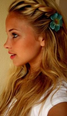 Beautiful Braided Hair -- love the flower!