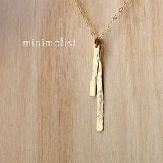 Gold Bar Necklace Thin Vertical Stick Silver Two by Fifty50Studio, $38.50