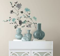 New Blue & Gray WATERCOLOR BLOSSOMS & BIRDS WALL DECALS  Branch Flowers Stickers #Roommates