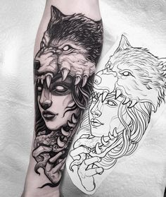 I seriously have an appreciation for the pigments, outlines, and fine detail. This really is an amazing layout if you really want a Wolf Tattoo Back, Small Wolf Tattoo, Wolf Tattoo Sleeve, Sleeve Tattoos, Wolf Tattoo Design, Tattoo Designs, Tattoo Girls, Tattoos For Guys, Tattoo Sketches