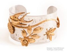 Karen McGovern created this great cuff bracelet using cold connecting techniques with brass embellishments from Nunn Design.