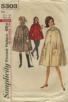 Vintage Sewing Pattern | Cape | Simplicity 5303 | Year 1963 | Bust 36 | Waist n/a | Hip n/a
