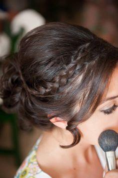 Destination Wedding Santorini Bridal Hair With Braid