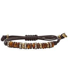 Fossil Bracelet, Semi Precious Tiger's Eye Adjustable Bracelet - Fashion Jewelry - Jewelry & Watches - Macy's