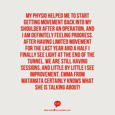 - Angela Archer. (Physio, Emma, Matamata Physiotherapy Clinic)