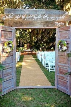 Outdoor country wedding idea - love the rustic barn doors!