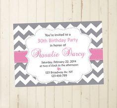 21st 30th 40th 50th birthday, women birthday, chevron birthday, grey and pink, grey invitation, pink chevron, pink invitation, pink baby shower RebeccaDesigns22, $9.99