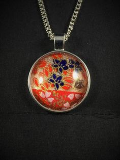Japanese Washi Glass Cabochon Pendant Necklace Gold Pink Flower by ManabizzleCreations on Etsy