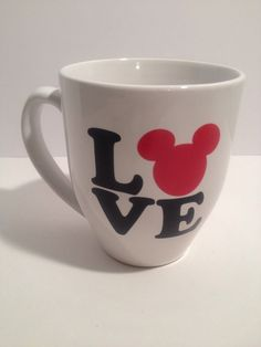 Walt Disney Coffee MugMickey Mouse I Love Mickey Black White & Red