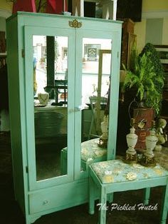 Vintage painted armoire and bench.