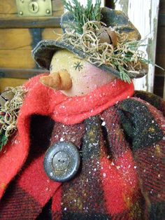 PRIMITIVE SNOWMAN DOLL OLD WOOL OLD BUTTON FOLK ART CHRISTMAS SNOWMAN DOLL #NaivePrimitive