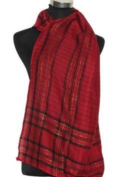 Sjaal rood geruit www.beadscreations.nl