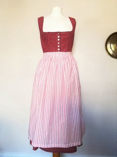 fa9c359a419e1c Red Ginham Dirndl Dress with white apron size M/L 100% | Etsy Red