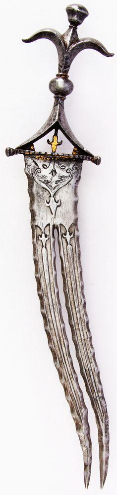 Indian chilanum dagger, 17th century, steel, gold, H. 13 5/8 in. (34.6 cm); W. 2 3/4 in. (7 cm); Wt. 11.3 oz. (320.3 g), Met Museum, Bequest of George C. Stone, 1935.